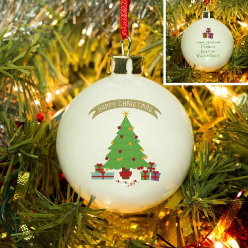 Personalised Christmas Tree Bone China Bauble